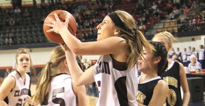 Jentry Shadle scored 10 points for the Lady Broncos at Last Friday's game in Levelland. Enterprise Photo / Roger Estlack