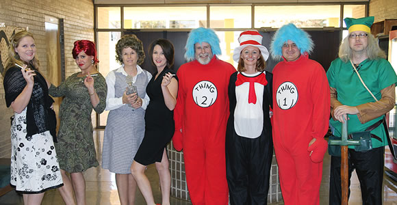 clarendon college employees dressed for halloween as the cast of mad men amanda smith